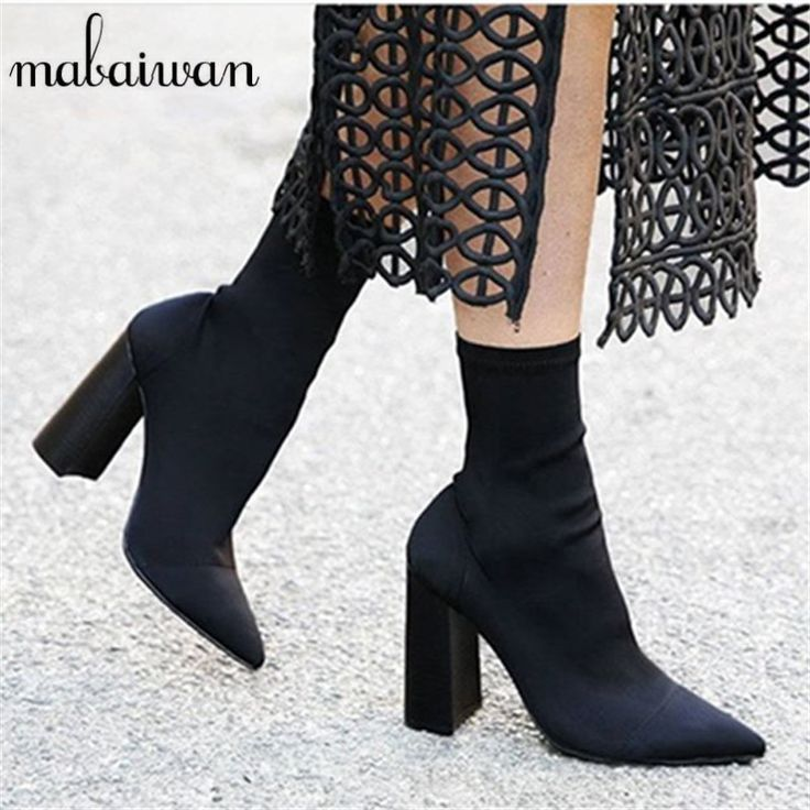 2017 New Square Heel Stretch Fabric Women Botas Sock Ankle Boots Black  Green High Heel Shoes