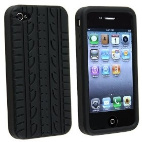 Black Tyre Tread Rubber Case Cover Compatible With iPhone? 4 4G 4th $1.65