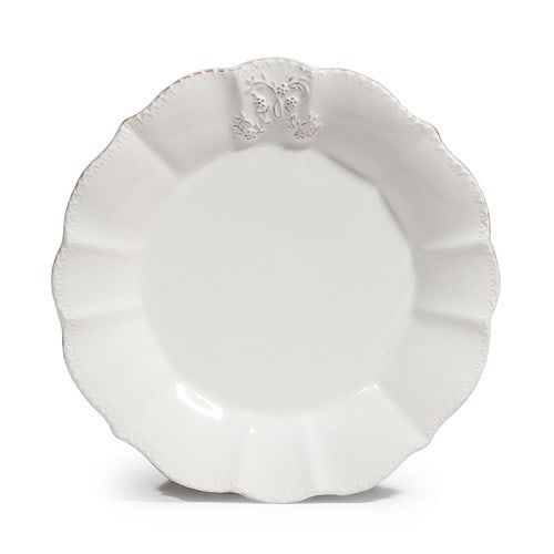 Plate for dessert in white faience D 19 cm BOURGEOISIE