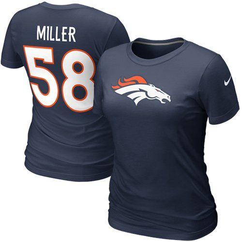 Nike Von Miller Denver Broncos Draft Ladies Player T-Shirt - Navy Blue