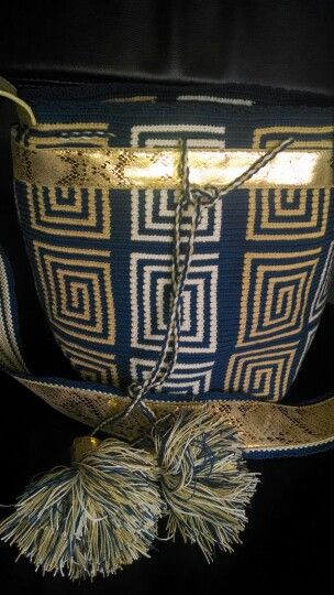 #blue #handmade #leather #gold #swarovsky #wayuu #mochila