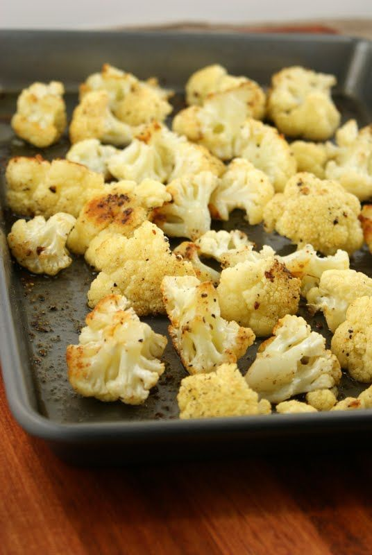 Roasted Cauliflower- Use a non-stick baking pan with sides. Pull apart the cauliflower and break into desired pieces. Sprinkle with olive oil and season with salt and pepper. Bake in the oven for 35 to 45 minutes or until golden brown. Remove and let cool.