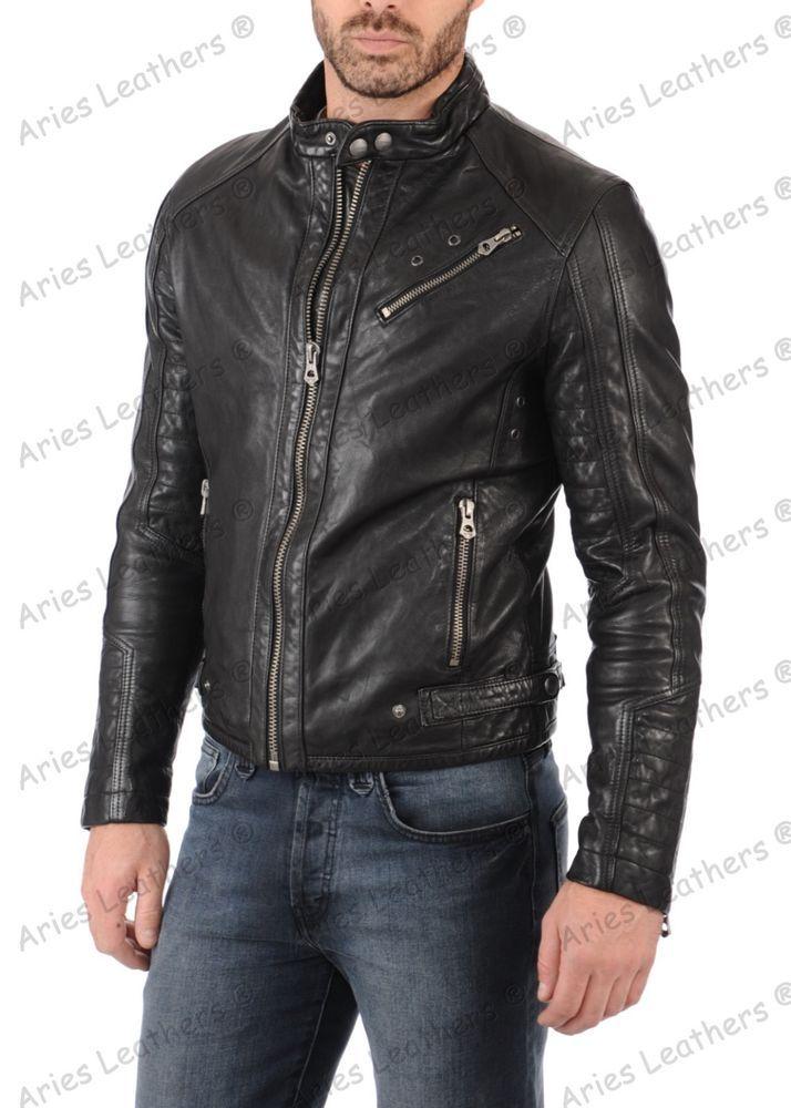 Mens Stylish Motorcycle Biker Genuine Lambskin Leather Jacket 135