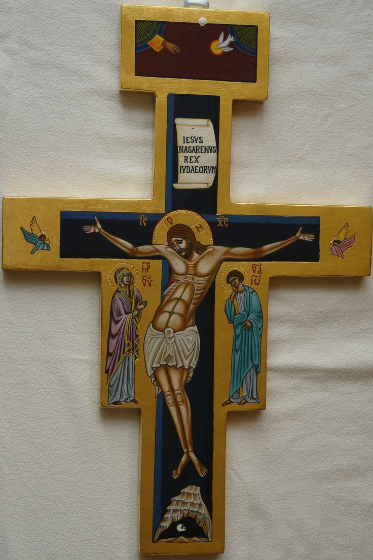Ikona Krzyża, złocenie na pulment, tempera; Pracownia Ikon Serca Jezysowego