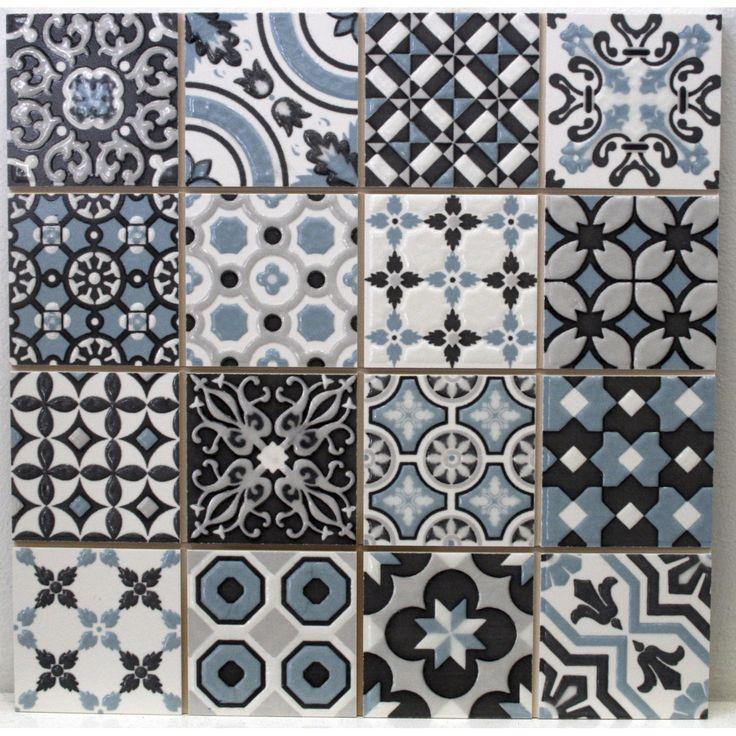 Grès cérame émaillé motifs bleu gris - Leroy Merlin