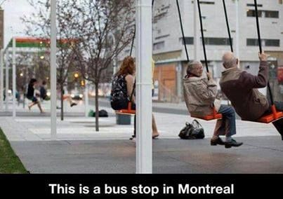 """Bus stop swings - great idea. Would like to see these wherever there are long waits in line -- concerts, motor vehicle registry and other government offices, supermarket checkout, doctors' waiting rooms, banks on payday, shopping malls at least from Thanksgiving night through Black Friday and again on Christmas Eve. Meanwhile, the folk pictured give new meaning to """"the swinging sixties"""" -- or are they more like 70s or 80s?"""