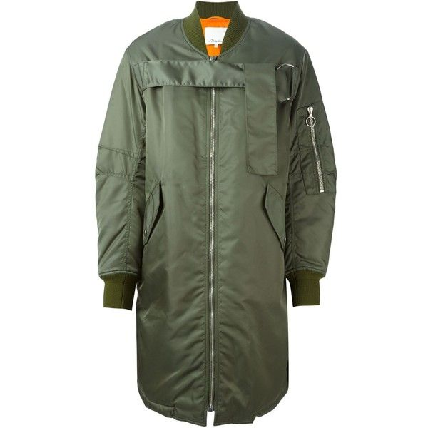 3.1 Phillip Lim Bomber-Style Padded Coat ($1,240) ❤ liked on Polyvore featuring outerwear, coats, 3.1 phillip lim, coats & jackets, jackets, green, long sleeve coat, bomber coat, oversized coat and long padded coat