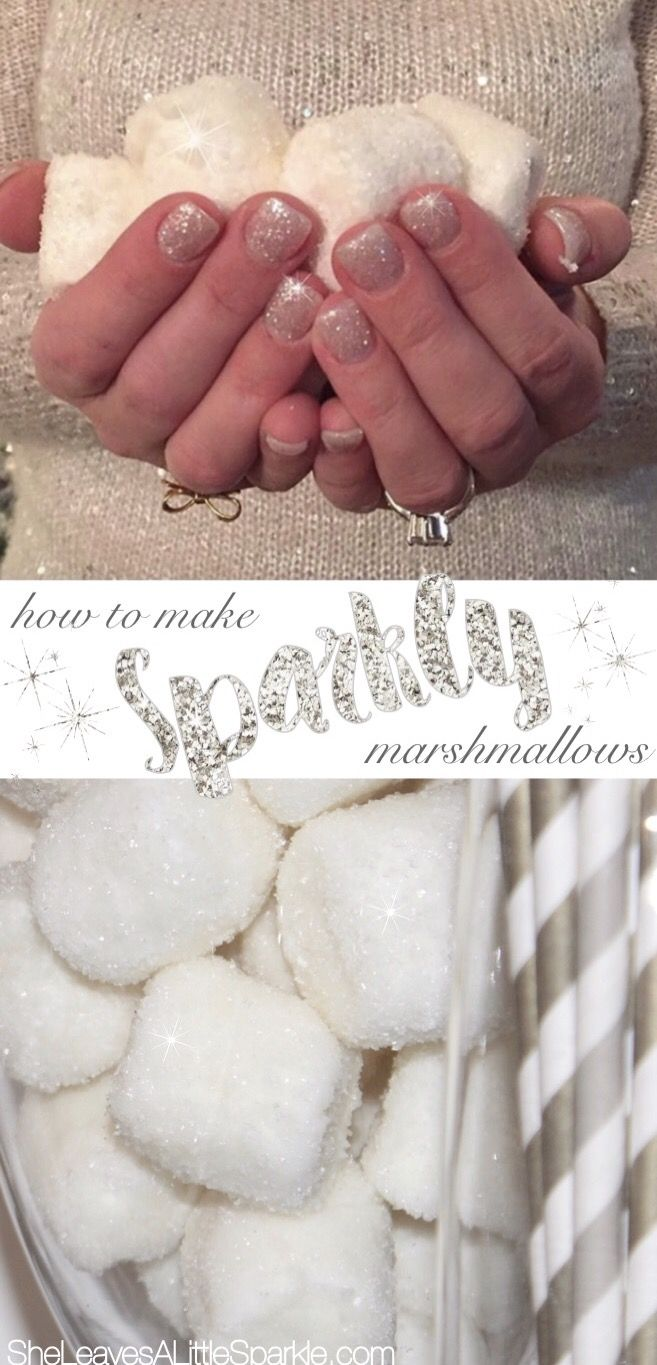 How To Make Sparkly Marshmallows for your Christmas holiday season. Display them at your hot cocoa bars or hot chocolate station. They look so festive, like giant glimmering snowballs. These sparkly marshmallows can also be made year-round or for any fun party or special occasion!