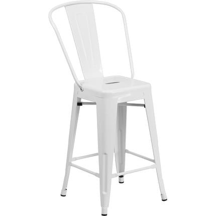 iHome Collins 24'' High White Metal Indoor/Outdoor/Patio/Bar Counter Height Stool w/Back