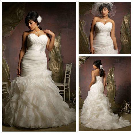 New Design 2013 Ivory Organza Ruffle Skirt Hot Sale Mermaid Wedding Dress Plus Size-in Wedding Dresses from Apparel & Accessories on Aliexpress.com