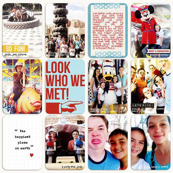 2014-WEEK 29 by Denise. I continue to be inspired by pocket scrapbooking and the endless ways of creating pages even with a seemingly confining style. This is such a fun Disney page with a great mix of journaling and photos.