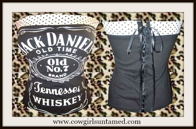 """LAST ONE of a TOP SELLER!! """"Jack Daniels Old No 7 Tennessee Whiskey"""" Corset with Polka Dot Trim #corset #top #shirt #strapless #sexy #jackdaniels #whisky #whiskey #moonshine #pinup #cowgirl #biker #rockabilly #boutique #fashion"""