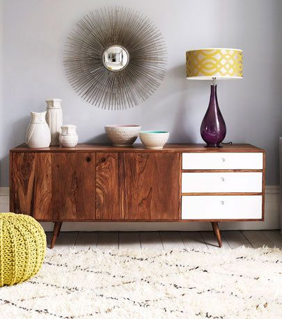 Seventies style sideboard with white drawers
