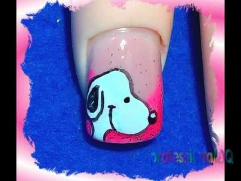 Snoopy is a cool dude!     A short while ago someone asked if I could paint Snoopy nails and I totally did. If there was one thing I would actually READ when I was a child, it was the Snoopy comics. Awesome.    This design is sooo much easier than it looks. For the thumb and pinky you could paint butterflies or just leave them with the pink sparkle ...