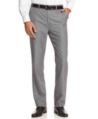 Calvin Klein BODY Flat-Front Sharkskin Slim-Fit Dress Pants    macys.com