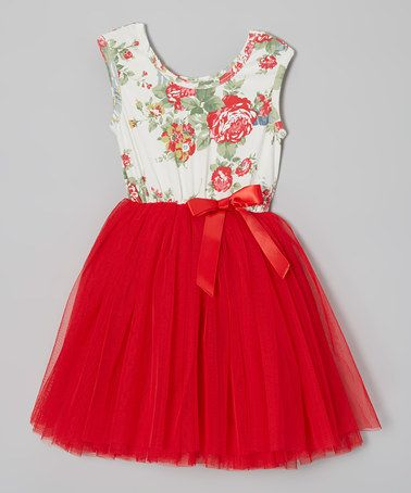 Take a look at this Red Floral Tutu Cap-Sleeve Dress - Infant, Toddler & Girls by Designer Kidz on #zulily today!