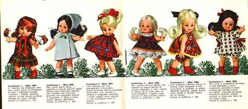 The mini-dolls Furga Lara, Lola, Laura, Lisa and Lucia.