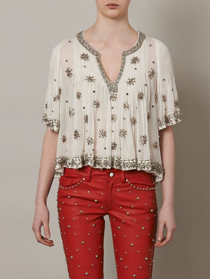 Isabel Marant - tucks all across bust area w/ embroidery on top