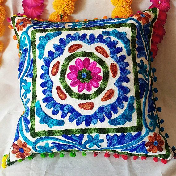 Decorative Indian Woolen Embroidered Suzani Cushion Cover Handmade Pillow Cases