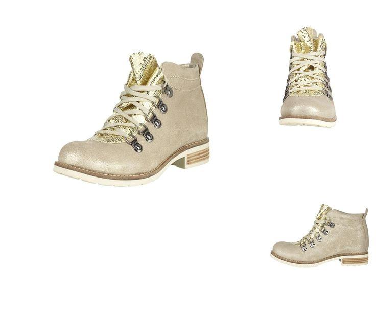 #Heine #Damen #Stiefelette gold