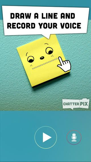 ChatterPix. Chatterpix can make anything talk -- pets, friends, doodles, and more!  Simply take any photo, draw a line to make a mouth, and record your voice. Then share your Pix with friends and family as silly greetings, playful messages, or creative cards. And best of all, it's FREE!
