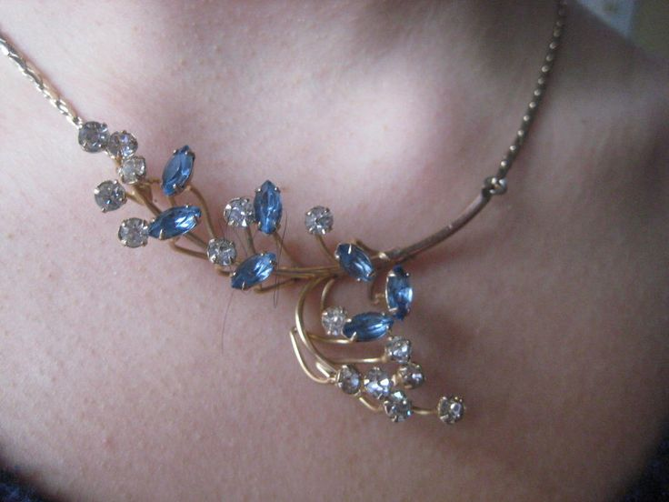 Blue Vintage Lavalier Prong Set Marquis Rhinestone Assymetrical Estate Necklace