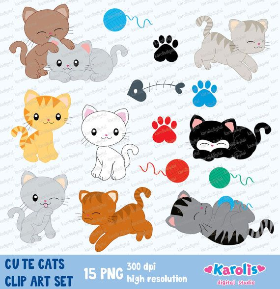 Cute cats  digital clip art set  Personal & by karolisdigital, $5.00
