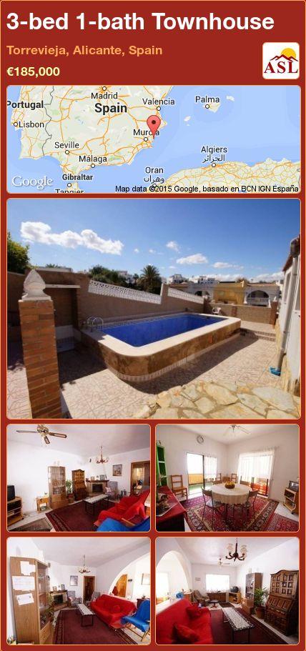 3-bed 1-bath Townhouse in Torrevieja, Alicante, Spain ►€185,000 #PropertyForSaleInSpain