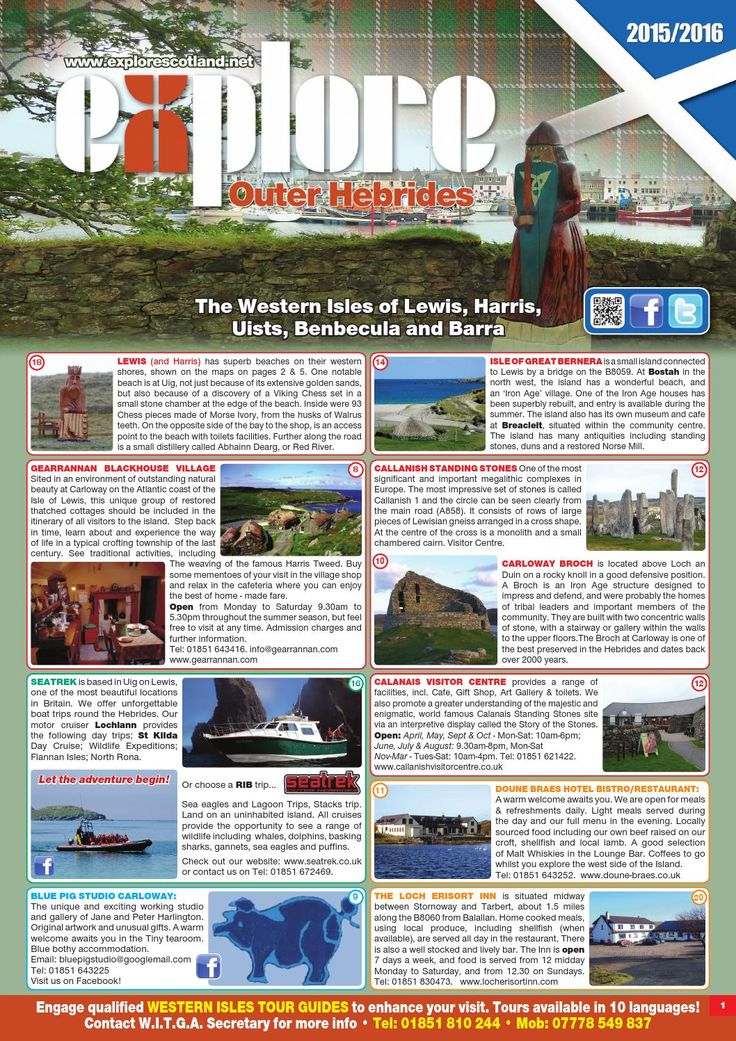 Explore the Outer Hebrides Guide with Maps 2015 16  Attractions, information and maps for the Outer Hebrides, including the Isles of Lewis, Harris, North Uist, Benbecula, South Uist and Barra