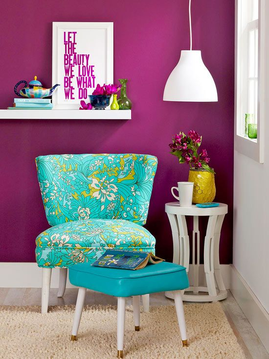 Cozy Companions-We complemented our newly re-covered chair with an ottoman upholstered in a pop of pure color. The turquoise vinyl is a durable and easy-to-clean choice for kick-back cool.