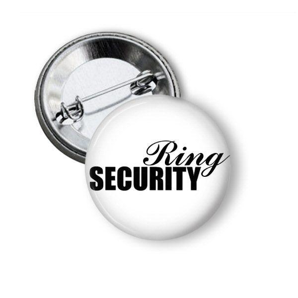 Ring Security pinback button #ringsecurity #bride #ringbearer #wedding https://www.zibbet.com/nannygoatscloset