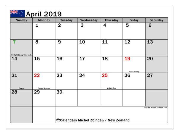 April 2019 Calendar New Zealand Calendar March January