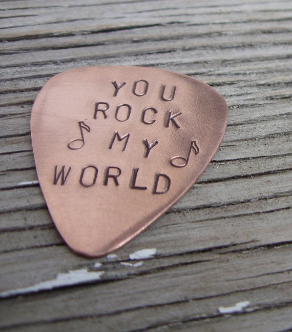 Copper guitar pick perfect for the special someone in your life that loves music