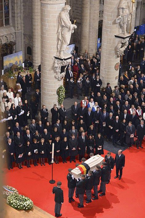 Soldiers of the regiment of the Carabiniers Prince Baudouin - Grenadiers carry the coffin of Queen Fabiola of Belgium during her funeral ceremony at the Saint Michael and St Gudula Cathedral in Brussels, on 12.12.2014