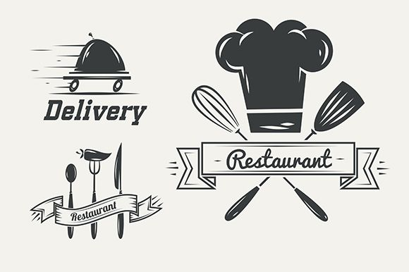 Restaurant and cafe logo badges by Krol on @creativemarket