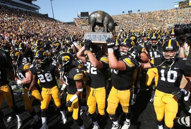Well, one of three trophies is an improvement for the Iowa Hawkeyes football program.