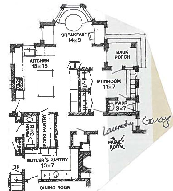 Floor plan garage entry hall runs by mud room bathroom for Mudroom laundry room floor plans