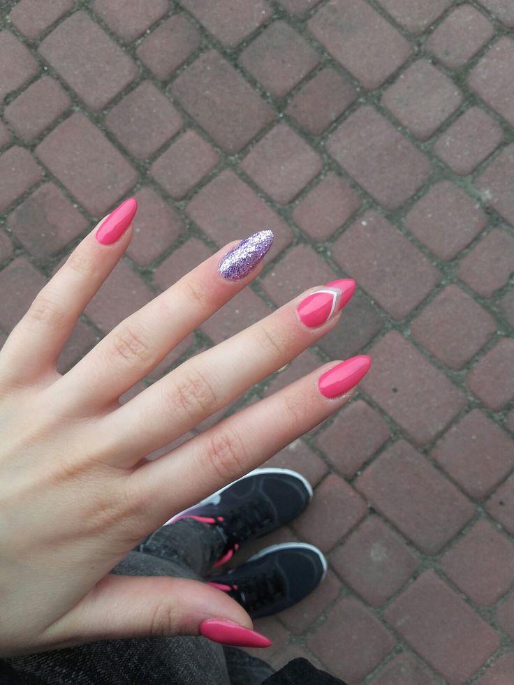 My natural pink & purple glitter nails  #nails#semilac#glitter