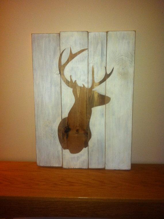 Primitive distressed wood sign deer head by beecharmerprim for Wood veneer craft projects