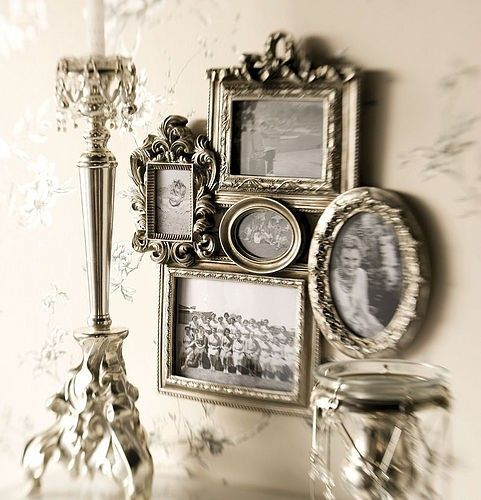 Vintage family style - using old frames for a family photo grouping