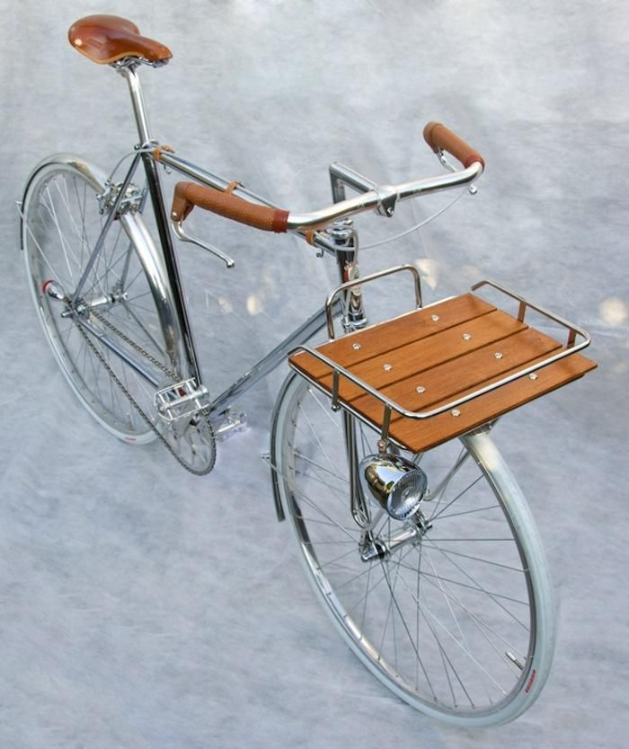Nickel & chrome bike with leather & oak wood accents