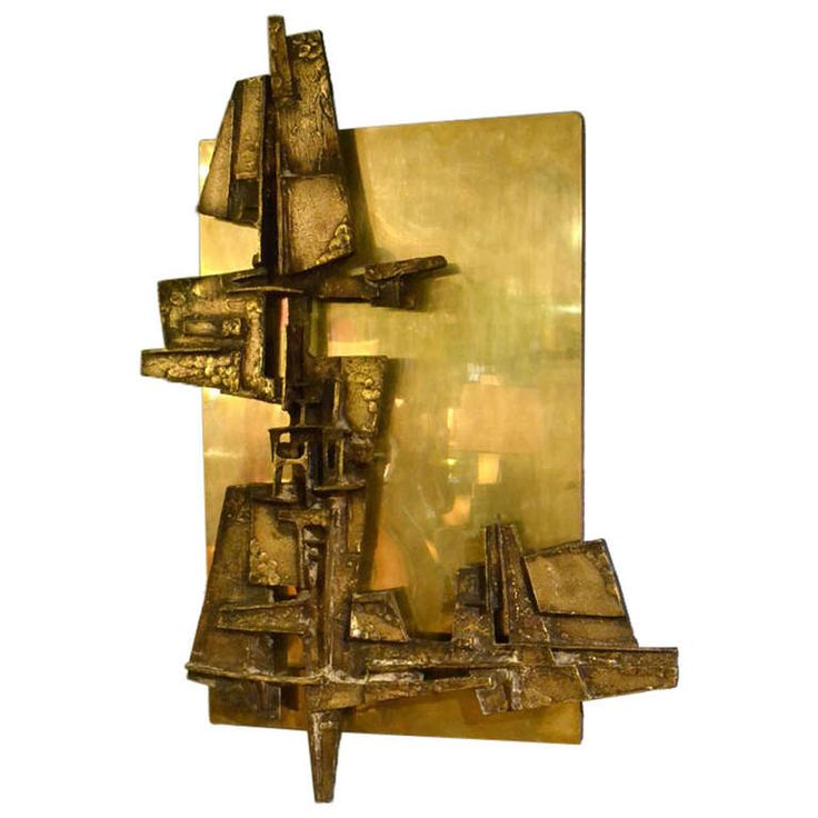 Brutalist Bronze 1960's Relief brass on wood by H.M.T. Optenberg, the Netherlands 1966