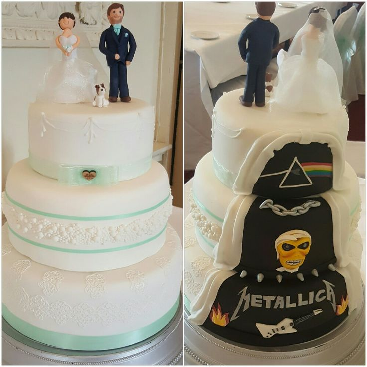 Hidden panel Heavy Metal Cake Wedding Cake including custom Bride and Groom Metallica, Iron Maiden and Pink Floyd