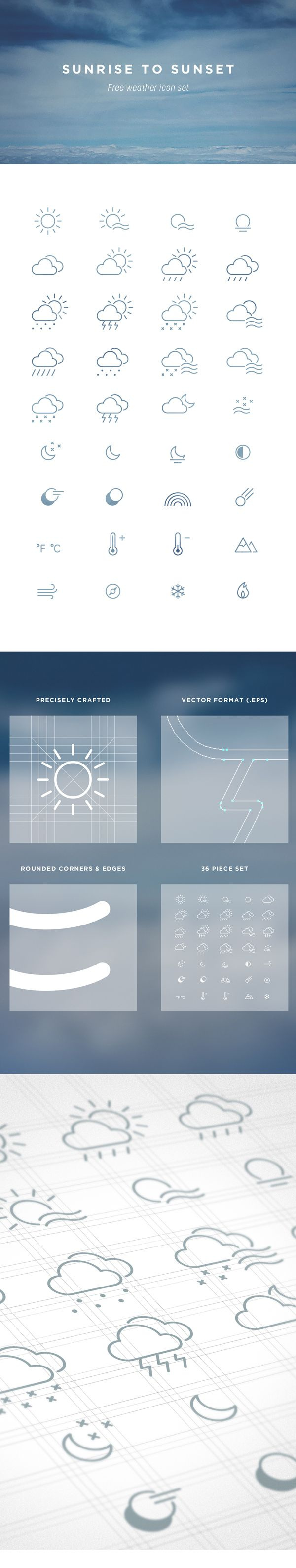 Weather icons pack by Marc-Antoine Roy, via Behance