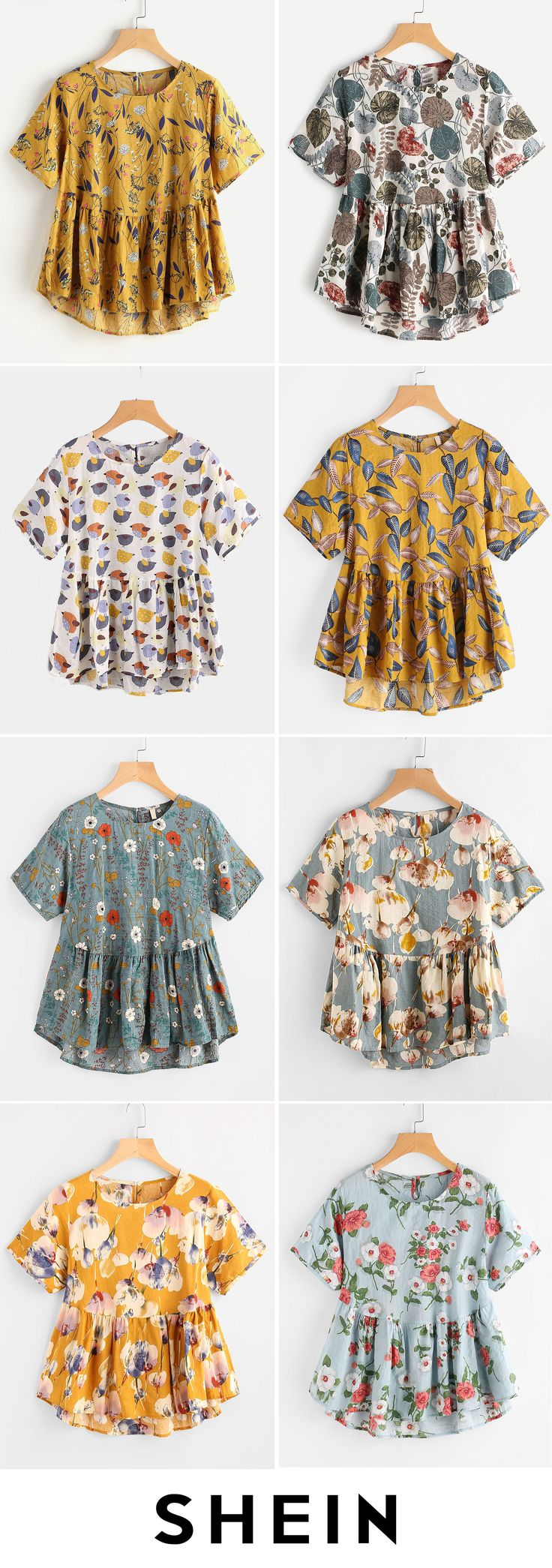 Allover Calico Print Keyhole Back Smock Blouse