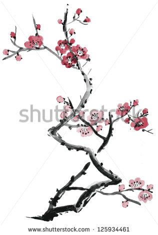 Realistic sakura blossom - Japanese cherry tree isolated on white background. Vectorization watercolor painting.