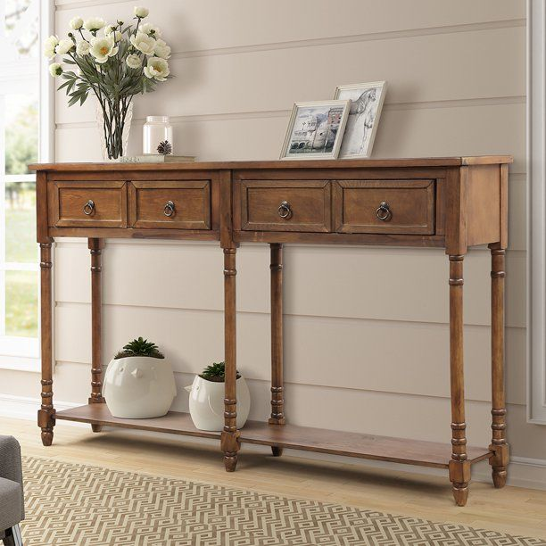 Buffet Cabinet Sideboard Console Table For Entryway Storage Cabinet With 2 Drawers Bottom Shelf Home Furniture Console Table Upgrade Solid Wood Frame Legs In 2020 Sideboard Console Table Entryway Console
