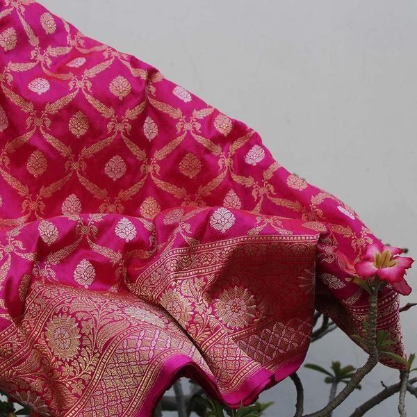 Dark Orange-Indian Pink Pure Katan Silk Banarasi Handloom Saree