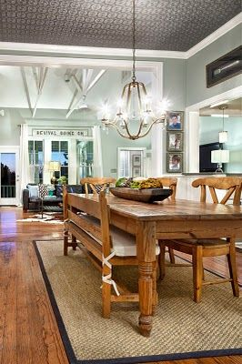 Already have a table this color....love the wall paint, and the sisal rug under the table