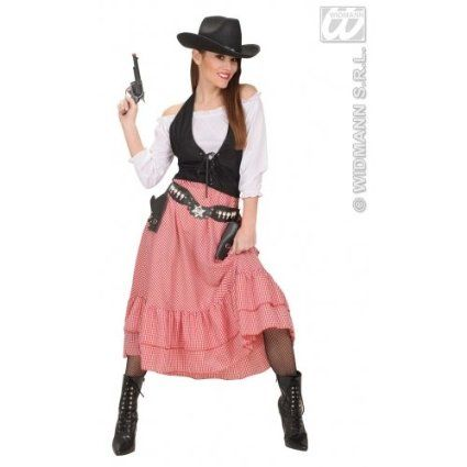 M Ladies Womens Western Belle Costume Outfit for Cowboy Wild West Fancy Dress Female UK 10-12